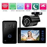 Sonnette d'interphone vidéo, système d'interphone vidéo sans fil, moniteur de couleur de 7 pouces et kit de sécurité pour caméra de vidéosurveillance HD, avec une caméra de vidéosurveillance(eu)