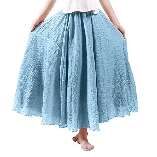 Röcke für Damen Leinen lange Röcke bunt Maxi Röcke Doppelschicht Elastisch Knöchellänge 37