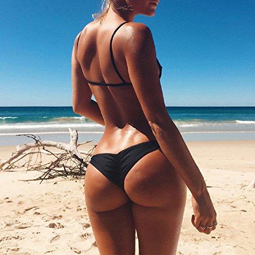 Damen Brazilian Slip Bikini Badehose Strand Mini Tanga Rüsche Design  Badeanzüge GString Unterwäsche Baden Tanga A1Schwarz
