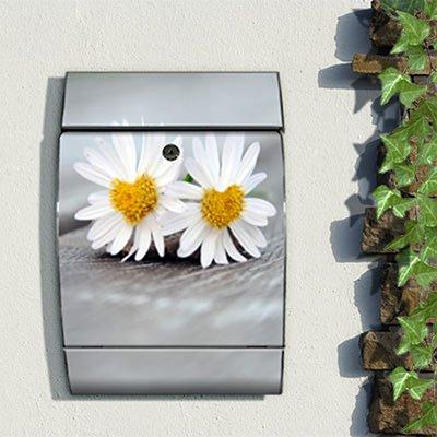 motivx Design bunt bedruckt Wandbriefkasten Arcus Edelstahl Briefkasten mit Motiv - Verliebte Gänseblümchen