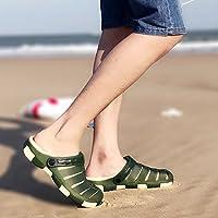 fankou Zapatillas de Playa Verano Masculino Baotou Antideslizante Zapatillas Suaves Corrientes de Fondo Cool Pantuflas Macho 41,una- Verde Oscuro