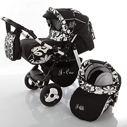 SaintBaby Kinderwagen JAG-CAT 2in1 3in1 Set alles in einem Buggy Kombikinderwagen Schwarz & Blumen mit Autositz
