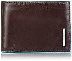 Idea Regalo - Piquadro PU1392B2 Portafoglio, Collezione Blu Square, Mogano