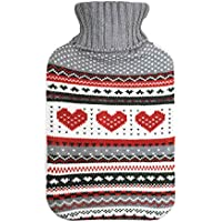 Harbour Housewares Full Size Hot Water Bottle, 2L - with Soft Knitted Cover - Grey Heart