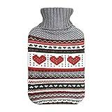 Harbour Housewares Große Wärmflasche mit Strickbezug - Grauen Herzen