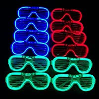 MuLucky Unisex Fashion Plastic Glow Light LED Light Up Shades Toy Glasses Party Favors Supplies Set of 12