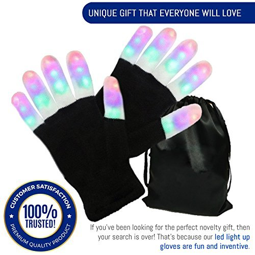(Light Gloves - Finger Light Flashing LED Gloves Warm with Flashing Lights and 6 Different Modes for Men Women & Kids, Holiday Christmas Gifts Ideas and Gloves with Lights Birthday Light Show Party)