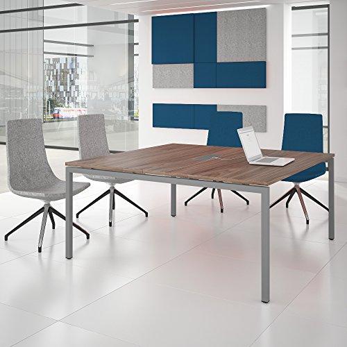 NOVA Konferenztisch 160x164cm Nussbaum mit ELEKTRIFIZIERUNG Besprechungstisch Tisch, Gestellfarbe:Silber