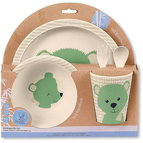 Sterntaler Bambus Kinder Geschirr-Set Baylee, 5-teilig, Süßes Bär-Motiv, Grün - Baby Geschirr