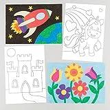 Baker Ross Dibujos para Decorar con Arena y Purpurina Que los Niños Pueden Crear y exhibir - Juego de Manualidades Infantiles Creativas (Pack de 8)