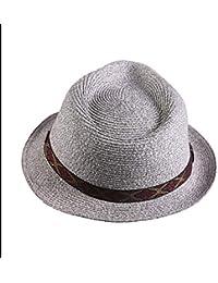 Sombrero de Jazz Sombrero de Paja para Hombre y Gorra Simple para Mujer  Marea Playa Sombrero Protector Solar Verano Sombrero de Copa… d89b7dd9eff