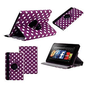 Neotechs® Purple Polka Dot Luxury Leather Rotating 360° Stand Case Cover Wallet for Amazon Kindle Fire