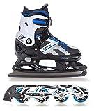 Raven 2in1 Schlittschuhe Inline Skates Inliner Pulse Black/Blue Verstellbar Größe: 37-40