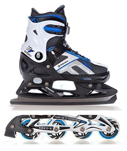 2in1 Schlittschuhe Inline Skates Inliner Raven Pulse Black/Blue verstellbar Größe: 40-43