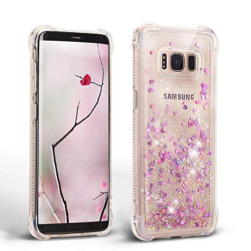Samsung Galaxy S8 Silicona TPU Carcasa, Mosoris Bling Arena Movediza Lentejuela Funda Glitter Líquido Brillar Cubierta Anti Arañazos Tapa Choque Absorción Cubierta Caja Cristal Sparkle Protección Caso Flexible Bumper Case - Pink