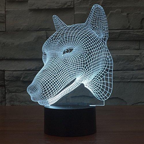 Luce visiva 3D testa di cane variopinto toccare tre dimensionale illusione LED acrilico luce economizzatrice d'energia creativa luce notturna - Cane Pan