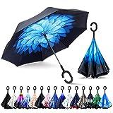 ZOMAKE Inverted Stockschirme, Innovative Schirme Double Layer, Winddicht Regenschirm, Freie Hand,Umgedrehter Regenschirm mit C Griff für Auto Outdoor (Blaues Gänseblümchen)