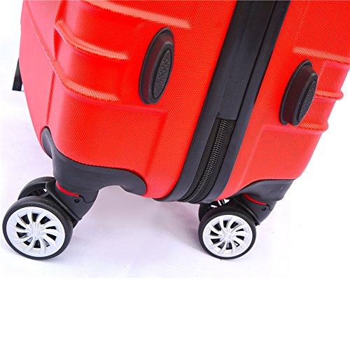 SHAIK SerieCLASSIC JFK Design Hartschalen Trolley, Koffer, Reisekoffer 4 Doppelrollen Zwillingsrollen, Zahlenschloss (Set, Rot) - 5