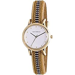 TokyoBay t623-gr Damen Edelstahl Leder Band Weiß Bunte Zifferblatt Smart Watch