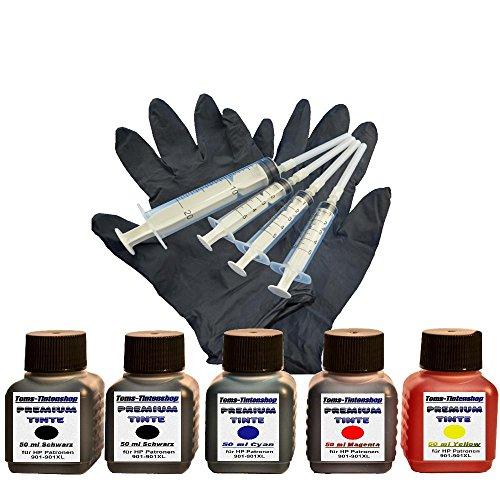 Preisvergleich Produktbild Premium Tinte Set Nachfülltinte 5 x 50 ml Tinte für Patronen HP 901 black und color plus 4 Nachfüllspritzen mit Nadeln und 1 paar Latexhandschuhe