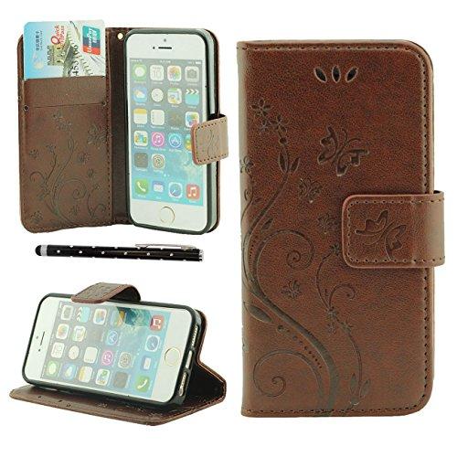 Apple iPhone SE Coque de Protection Gris, Rabat Portefeuille Doux PU Beau Fleur Motif Housse de Protection Case pour iPhone 5 5S 5G avec 1 stylet marron