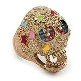 La textura Mulicolored 'calavera' anillo oro mate en Metal
