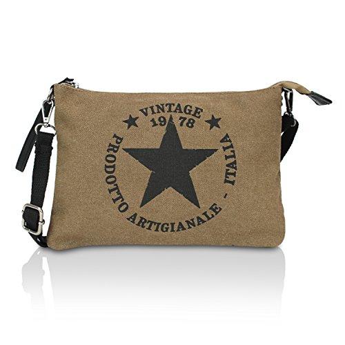 cf272357b076a Glamexx24 Damen Clutches Tasche Handtaschen Schultertasche Umhängetasche  mit Stern Muster Tragetasche TE201615 BeigeKahki