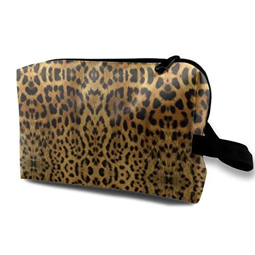 Furry Leopard Print Travel Makeup Cute Cosmetic Case Organizer Portable Storage Bag for Women Furry Leopard