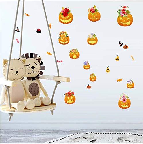 (asd137588 Wandtattoo Halloween Kürbis Wandaufkleber Wohnzimmer Schlafzimmer Glas Fenster Hintergrund Dekoration Festival Decor)