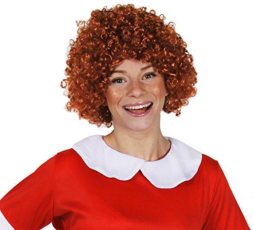 Kinder und Erwachsene Ginger Gelockt Perücke Ilovefancydress® Orphan Girl groß Auburn Afro Musical Charakter Perücke (Kinder und Erwachsene Größen - Annie Das Musical Kostüm