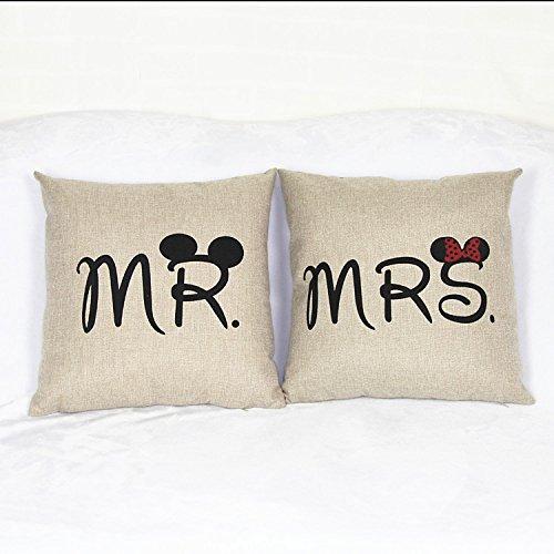 Luxbon set di 2 mr & mrs micky federe per cuscino in contone lino copricuscino decorativo per casa divano sedia stanza letto 45 x 45 cm
