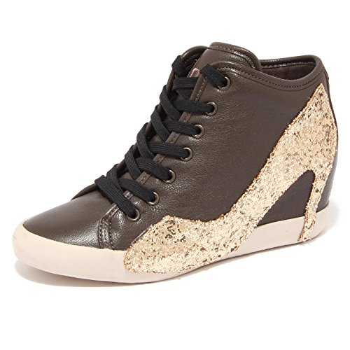 7773Q sneaker donna OLO scarpa marrone paillettes oro shoes women [35]