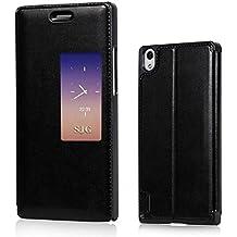 Prevoa ® 丨S View Flip Funda Cuero Carcasa Case Cover Para Huawei Ascend P7 - Negro