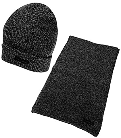 Mens 2 Pieces Winter Accessory Set Stretch Scarf And Hat