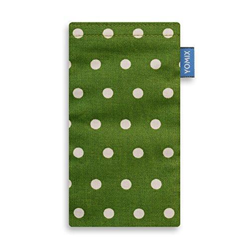 YOMIX Handytasche GUNILLA grün mit Strahlenschutz für Apple iPhone 5 / 5s / SE aus beschichteter Baumwolle mit genialer Display-Reinigungsfunktion durch Microfaserinnenfutter
