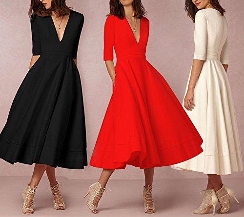 Donna Vintage Swing Vestiti V-Collo Elegante Vestito Lunghi Partito Cerimonia Abiti Midi Abito da Cocktail Sera Rosso