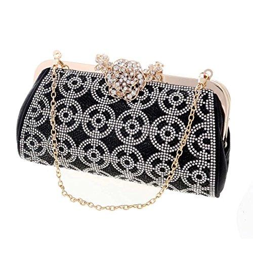 Damara® Glitzernde Kristalle Damen Strass Schnalle Handtaschen Silber