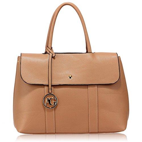 Faux-leder-schulter-handtasche (LeahWard Frauen Faux Leder Schultertaschen Tote Handtaschen für Urlaub Hochschulurlaub Handtaschen für die Schule CW538 (Nude Satchel greifen Schulter Handtasche))