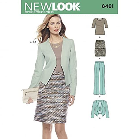 New Look Ladies Sewing Pattern 6481 Knit Top, Skirt, Pants & Jacket Suit by New Look