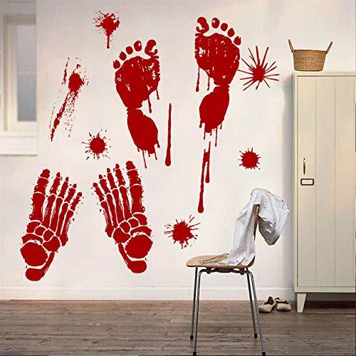 Blutige Blutabdrücke Ghost House Fenster und Türen Wohnzimmer Halloween Wand dekorative Wandaufkleber (Paw Ghost Patrol-halloween)