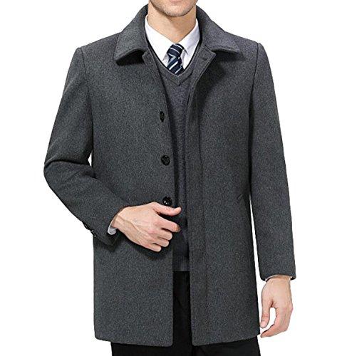 Herren Wollmantel Plus Kaschmir Dicke Winterjacke Revers Wollmantel Einreiher,Grey-XL (Kaschmir Mantel Einreiher)