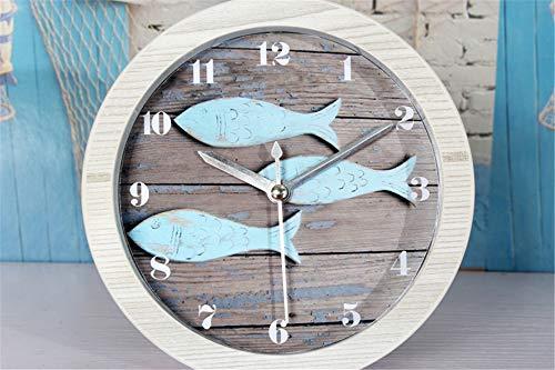 CZPF Europäische Mediterrane Vintage Alte Sperrholz Kleine Fische Holz Wecker Nordische Sitzende Uhr Tischuhr Tisch Gartenuhr - Alte Holz Uhr