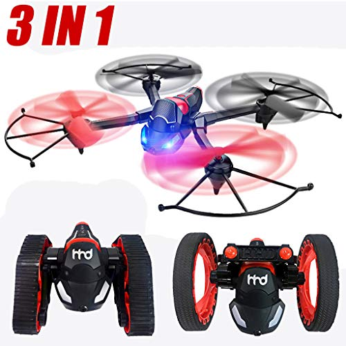 Fcostume 3 en 1 RC Flying Car Drone Panzerabsprungswagen WiFi FPV 480P HD CAM Transformation Quadcopter, Rojo