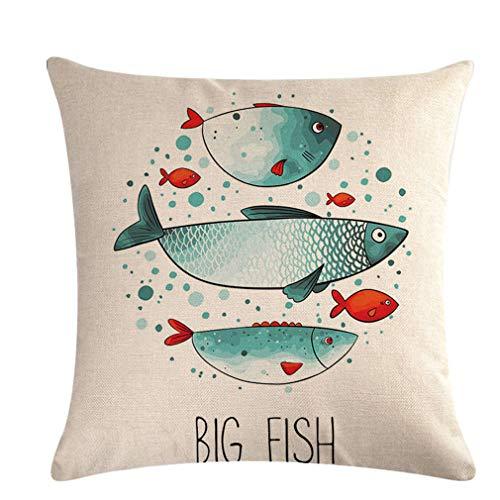 Yeucan Square Print Kissenbezug Nadel Vogel Koi Fisch Heim Sofa Sitzdekoration Kissenbezug, stil 1 (Koi-113)