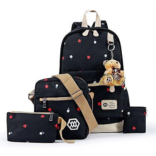 YiLianDa Damen Canvas Schule Rucksack Universität Rucksack Schultasche Schultertasche Geldbeutel für Mädchen Schwarz
