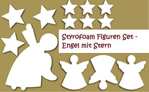 Styropor Figuren Set - Engel mit Stern 5. Dekoset, Bastelset, Wanddeko, Dekorset