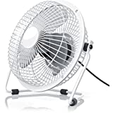 CSL - USB Ventilador / Fan | ventilador de mesa | carcasa / aspas de metal y paletas de rotación de plástico | PC / portátil | en blanco
