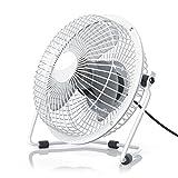 CSL - USB Ventilador/Fan | Ventilador de Mesa | Carcasa de Metal/aspas de rotacion en plastico | PC/portátil | en Blanco