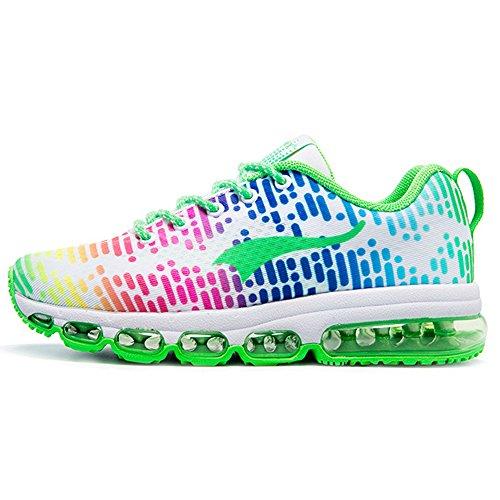 Onemix Air Scarpe da Ginnastica Corsa Sportive Uomo Donna Sneakers Fitness Running Unisex Adulto Bianco / Verde