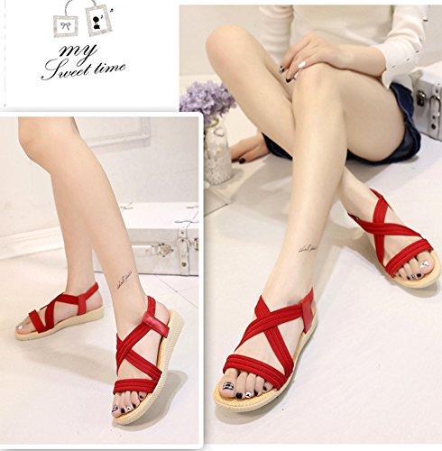 Minetom Damen Sommer Mode Einfarbig Sandalen Gladiator Sandals Flats Schuhe Strand Offene Sandalen Rot